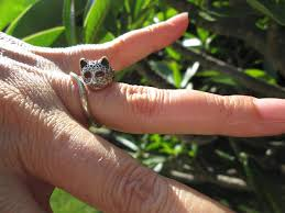 ocelot size sterling silver ocelot cat ring with purple glass eyes size 4