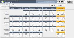 Monthly Employee Timesheet Template Free Templates