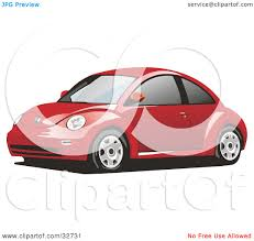 Clipart Illustration of a Red Yellow Slug Bug Car With Tinted ...