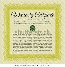 Yellow Retro Warranty Certificate Template Easy Stock Vector