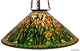 tiffany leaded daffodil hanging lamp 28 d shade 21 h numerous flowers surround this shade and each is expertly rendered with many pieces of yellow white