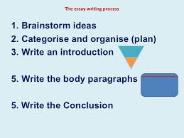 essay writing process the essay writing process <ul><li>brainstorm ideas < li>