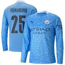 Manchester City Cup Home Shirt 2020-21 - Long Sleeve with Fernandinho 25  printing