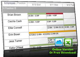 Online Schedule Free Online Employee Work Schedule Template Shift Scheduling Template