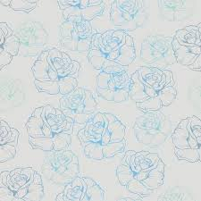 Fancy Background Design Seamless Floral Pattern With Retro Blue Roses On Grey Background