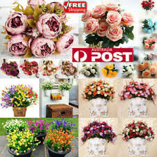 <b>13 Heads</b> Vintage Artificial Fake Peony Silk Flowers <b>Bouquet</b> Party ...