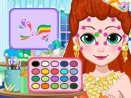 mermaid face painting little princess prom salon free beauty s dress makeup game screenshot