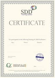 Certificates For Sdd Training Or Participation In Design
