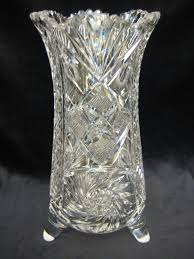 American Brilliant Cut Glass Crystal W 3 Legs Vase Rare Shape