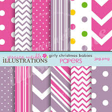 Girly Christmas Babies Cute Digital Papers for Card Design, Scrapbooking,  and Web Design