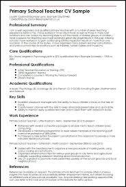 Sample Education Resume Primary School Teacher Sample Sample