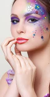 colorful gems accent pretty purple make up