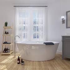OVE Decors Betsy 67-in Gloss white Acrylic Freestanding Bathtub with  Reversible Drain