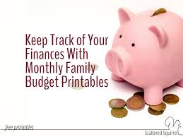 Keep Track Of Your Finances Monthly Family Budget Printables