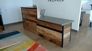 reclaimed wood steel reception desk by daniel chase