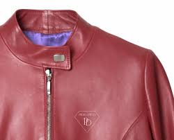 lamb leather jacket red colour zip closure without neck and long zip sleeve