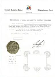 legal capacity to contract marriage affidavit of civil status
