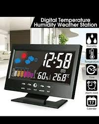 wireless weather station clock indoor outdoor thermometer hygrometer uk stock