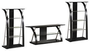 3 piece entertainment center tv stand console media glass shelf set black
