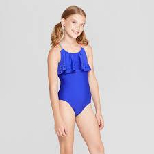 Girls Laser Cut <b>One Piece</b> Swimsuit Cat Jack Blue S