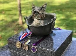 Smoky in the Helmet - K9 - K-9 - war dog memorial - dog portraits - custom  bronze sculpture