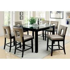 dining room table glass inlay. furniture of america vanderbilte 7-piece wood with glass inlay dining set - black | hayneedle room table