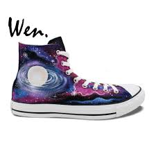 Galaxy Design Shoes Us 52 0 20 Off Wen Original Design Custom Hand Painted Shoes Galaxy Nebula Space Men Womens High Top Canvas Sneakers In Skateboarding From Sports