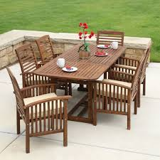 7 piece dark brown acacia patio dining
