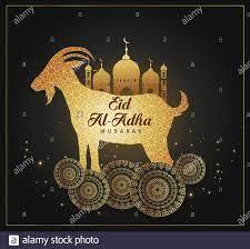 Eid Mubarak für die Feier der muslimischen Gemeinschaft Festival Eid Al Adha.  Grußkarte mit Opferschafe und Moschee Hintergrund. Vektorgrafik  Stock-Vektorgrafik - Alamy