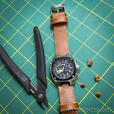 small snips cleanly cut the leather watch band for the victorinox swiss army hunter mach 2