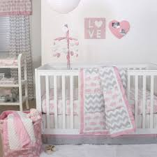 the peanut shell 4 piece baby girl crib bedding set pink elephants and grey zig zag patchwork 100 cotton quilt dust ruffle fitted sheet