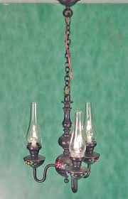 3 arm tole painted chandelier
