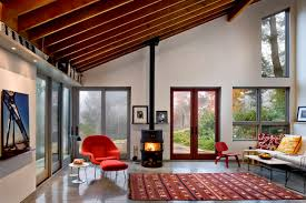 Wood Stove Living Room Design Wood Stove Pipe And Vaulted Ceiling