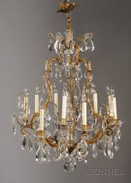 louis xv style brass and colorless glass nine light chandelier