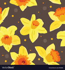 Daffodil Paper Flower Pattern Seamless Floral Pattern With Daffodils Royalty Free Vector