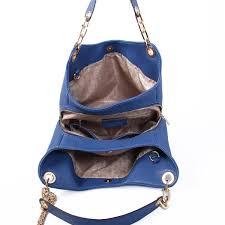 michael kors fulton large leather shoulder bag navy blue