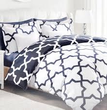 max studio lattice quatrefoil pattern king duvet cover and shams 3pc set navy blue and