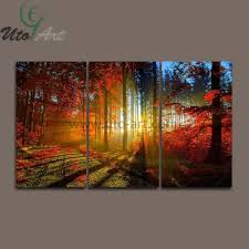3 piece canvas print. Unique Print Best 3 Panel Canvas Print Painting Cuadros De Lienzo Forest And Sunset  Sunlight Autumn Red Wall Art Home Decoration Living Room Under 2508  DhgateCom With Piece O