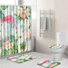 urijk 4pcs anti slip bathroom rugs set pedestal rug lid toilet cover bath mat waterproof shower