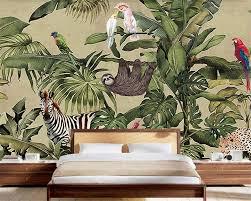 Goedkope Beibehang Custom Behang Retro Tropische Regenwoud Dier Palm