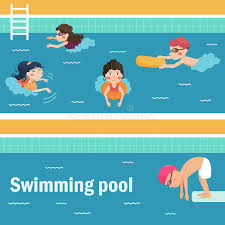 Kids in the swimming pool stock vector Illustration of people