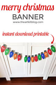 Merry Christmas Lights Banner Instant Download Printable