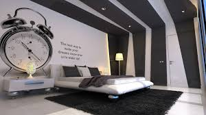 bedroom wall design ideas. Bedroom, Engaging Large Bedroom Design With Remarkable Clock Wall Painting Also Alluring Modern Recessed Ideas E