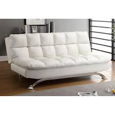 furniture of america aristo white faux leather futon