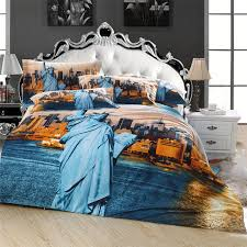 statue of liberty 3d new york scenic city bedding set queen size 100 cotton duvet