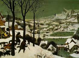 bruegel s hunters in the snow talk for terrain gallery bruegel shows a vast snow covered landscape we see a valley full of ponds a winding river steeply roofed houses and steepled churches