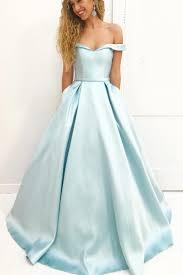 Light Blue Prom Dresses 2018 Light Blue Prom Dress A Line Prom Dress Off The Shoulder Prom Dress Prom Dresses 2018 Vestido De Festa Elegant Prom Dress Satin Prom Dress