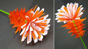 Making Of Flower With Paper Stick Flower Paper Flower Making Step By Step Flower