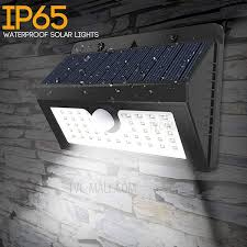youoklight yk6407 ip65 waterproof solar light pir motion sensor wall lamp white light 1