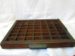 vintage wooden print tray miniature collection display shelf with metal handle